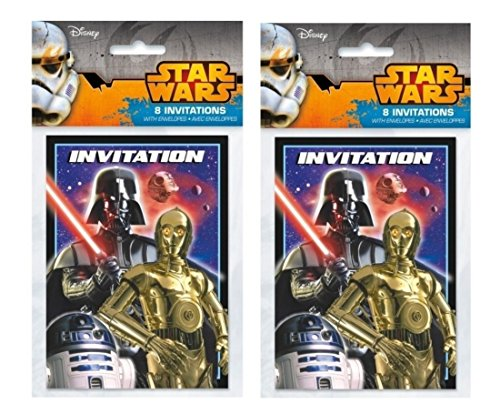 Star Wars Party Invitations (Star Wars Birthday Party Invitations for 16)