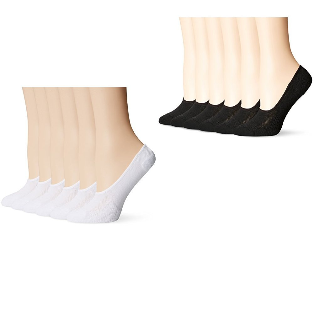 PEDS Women's Cushion No-Show Sport Cut Liner 6-Pack,White/Black One Size by PEDS