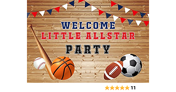 7x5ft Boys Birthday Party Photo Backdrop Sports Themed Baseball Football Soccer Rugby Parties Decortion Video Studio Photo Booth Prop