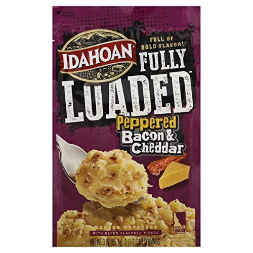 Idahoan Fully Loaded Peppered Bacon and Mashed Cheddar Potatoes 3 oz (Pack of 6)