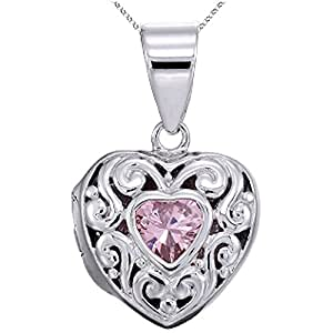 Rhodium Heart Locket Pendant Necklace with Pink Heart-Shape CZ w/Chain