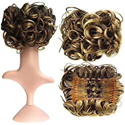 SWACC Short Messy Curly Dish Hair Bun Extension Easy Stretch hair Combs Clip in Ponytail Extension Scrunchie Chignon Tray Ponytail Hairpieces (Dark Blond Brown Mixed -9H19#)