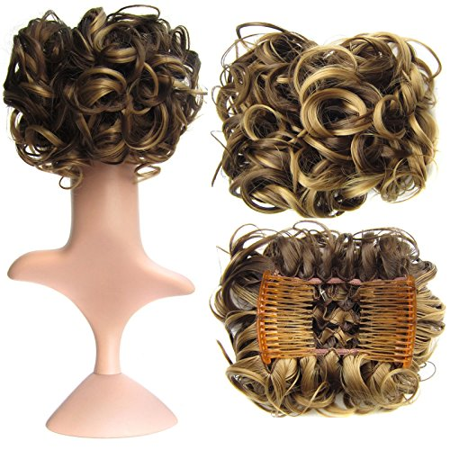 SWACC Short Messy Curly Dish Hair Bun Extension Easy Stretch hair Combs Clip in Ponytail Extension Scrunchie Chignon Tray Ponytail Hairpieces (Dark Blond Brown Mixed -9H19#) (Hair Extension Comb)