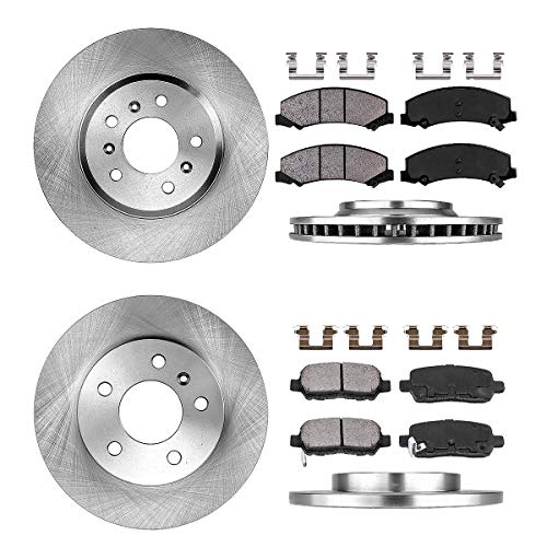 FRONT 303 mm + REAR 270 mm Premium OE 5 Lug [4] Rotors + [8] Quiet Low Dust Ceramic Brake Pads + Clips