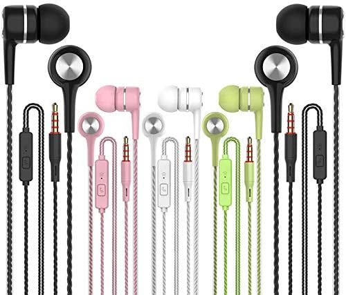 Earbuds Earphones with Microphone,5pack Ear Buds Wired Headphones,Noise Islating Earbuds,Fits All 3.5mm Interface for iPad,iPod,Mp3 Players,Android and iOS Smartphones(Black+Pink+White+Green)