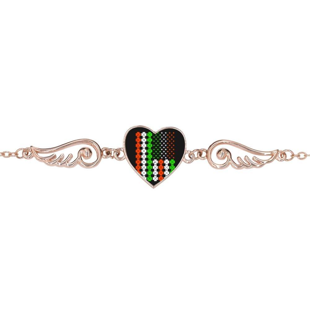 BlingDi Unique Vintage Irish American Flag Design Heart Lucky Bracelet Jewelry