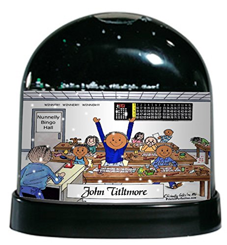 Personalized Friendly Folks Cartoon Caricature Snow Globe Gift: Bingo Player - Male Great for bingo player, gambler by Printed Perfection