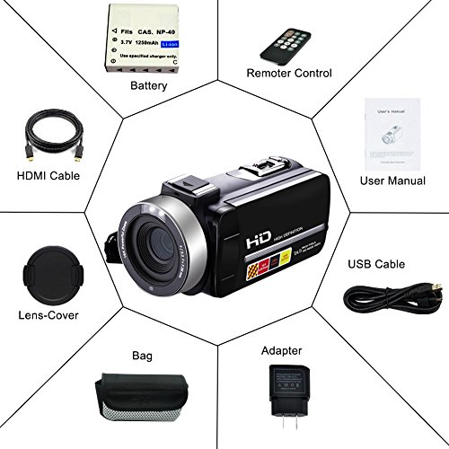 Camcorder Video Camera Full HD 1080p 24.0MP Digital Camera External Microphone Video Recorder Night Vision Webcam with Remote Control by COMI (Image #6)