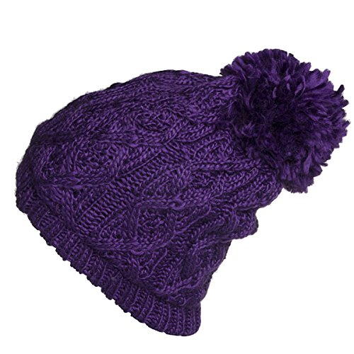 Polar Extreme Women's Insulated Thermal Slouchy Beanie Hats with Pom Pom Cable Knit -