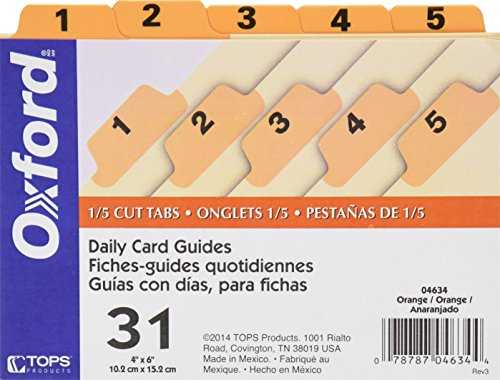 Oxford Index Card Guides with Laminated Tabs, Daily (1-31), 4'' x 6'' Size, Orange, 31 Guides per Set (4634) by Oxford