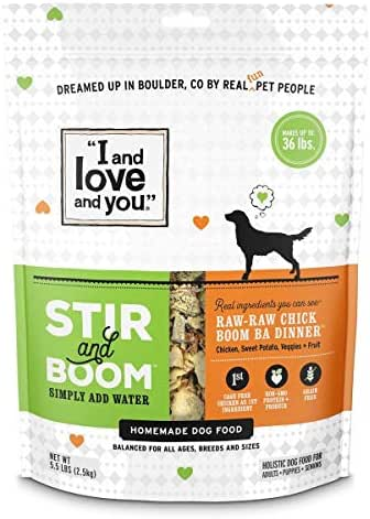 I and love and you Stir & Boom Dehydrated Freeze Dried Raw Dog Food, Chicken, 5.5-Pound Bag