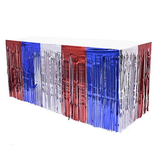 Amosfun 2pcs Tablecovers for Parties, 4th of July Table Skirt Foil Fringe Table Skirt Patriotic Party Table Skirts Blue Red Table Skirt with Rain Curtain for Wedding Hawaiian Party