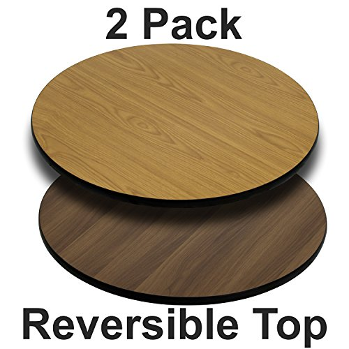 (Flash Furniture 2 Pk. 42'' Round Table Top with Natural or Walnut Reversible Laminate Top)
