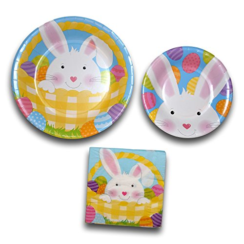 Easter Bunny Basket Holiday Party Paper Plates and Napkins Bundle – Party Pack Disposable Dinnerware Set Includes Easter…