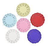 DECORA 3.5inch Round Colorful Paper Lace Doilies Wedding Tableware Decoration,Pack of 200