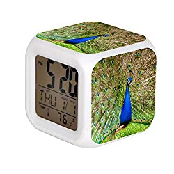 ALPERT Child 7 Color Change LED Digital Alarm Clock with Date Alarm Thermometer Desktop Table Cube Alarm Clock Night Glowing Flash Watch Toys Peacock on Green Grass