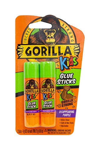 Gorilla 2605201 School Glue Sticks, 1-Pack, Disappearing Purple, 2 Piece