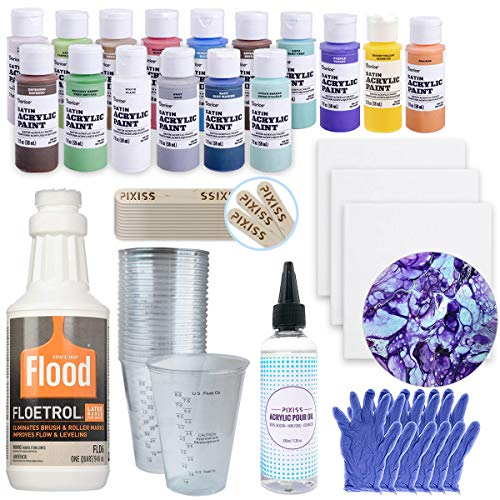 Acrylic Paint Pouring Bundle - Floetrol, Cups, 16x 2-Ounce Acrylic Paints, 3X 6-inch Canvases, Pixiss Acrylic Pouring Oil, Mixing Sticks, Gloves, Complete Kit for Paint - Painting Oil Art 3