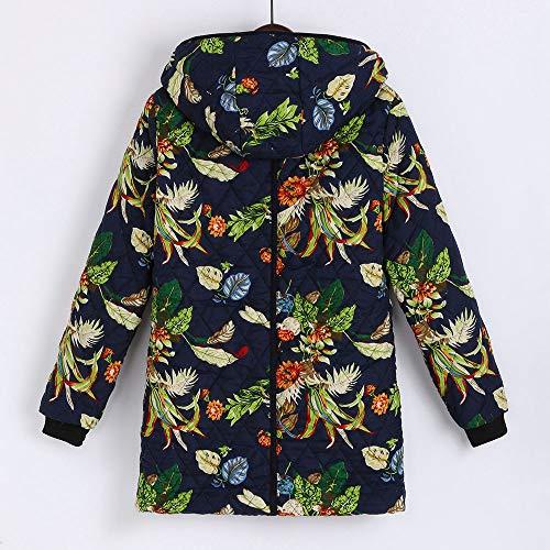 Manteaux Hiver Oversize Pochettes Floral Magiyard À Vintage Vert Chauds Femmes Capuche Imprimées Vêtements Rxzgqz
