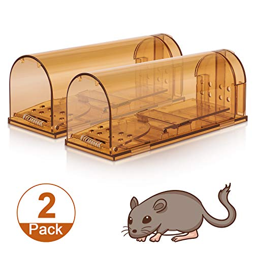 Humane Smart Mouse Trap, No Kill Mice Catcher, Live Catch and Release Rodents, Safe for Children and Pets, Humane Rat Poison (Brown, 2 Pack)