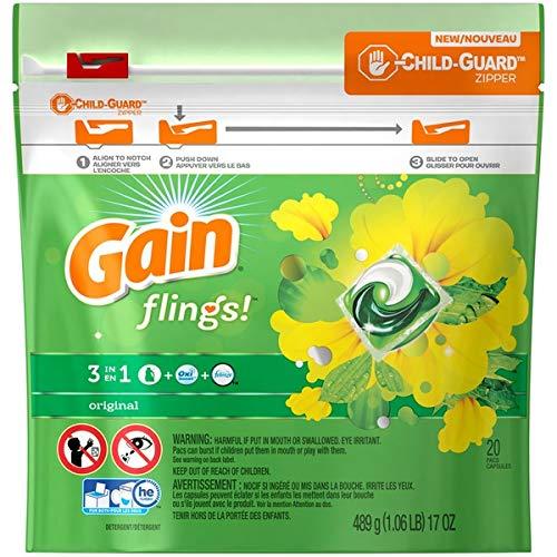 Gain Flings Laundary Detergent Pacs, Original - 20 Count Ea