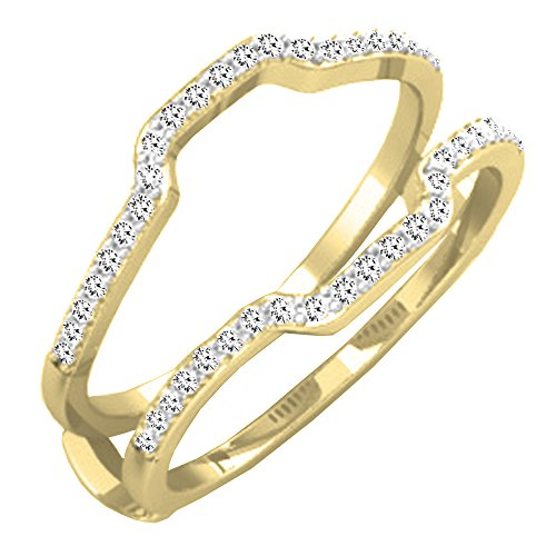 0.25 Carat (ctw) 14K Yellow Gold Round Diamond Wedding Band Enhancer Guard Ring 1/4 CT (Size 9) by DazzlingRock Collection