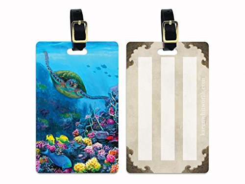 (Set of 2 Tropical Sea Turtle Underwater Hawaii Luggage Tags with Leather Strap Travel Vacation Gift Hawaiian Art)