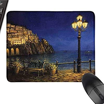 """ItalyCustomize Mouse padStarry and Romantic Evening at The Coast of Amalfi in Italy Oil Painting StyleCustomized Mouse Pad 9.8""""x11.8""""Navy Blue Brown"""