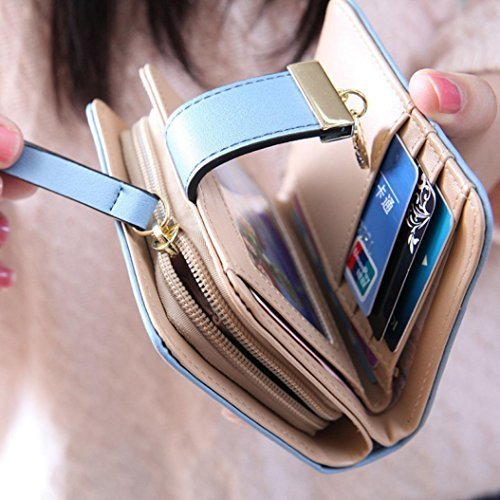 ? donne foglia Bifold portafoglio borsa small Lady breve borsetta pochette in pelle ID finestra moneta carta (blu)