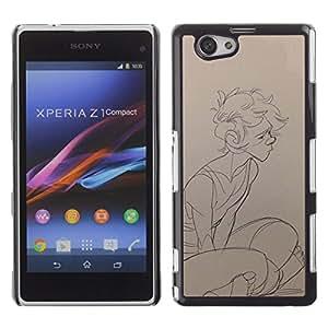 For Xperia Z1 Compact D5503 Case , Boy Sketch Profil Art du portrait dessin au crayon - Diseño Patrón Teléfono Caso Cubierta Case Bumper Duro Protección Case Cover Funda