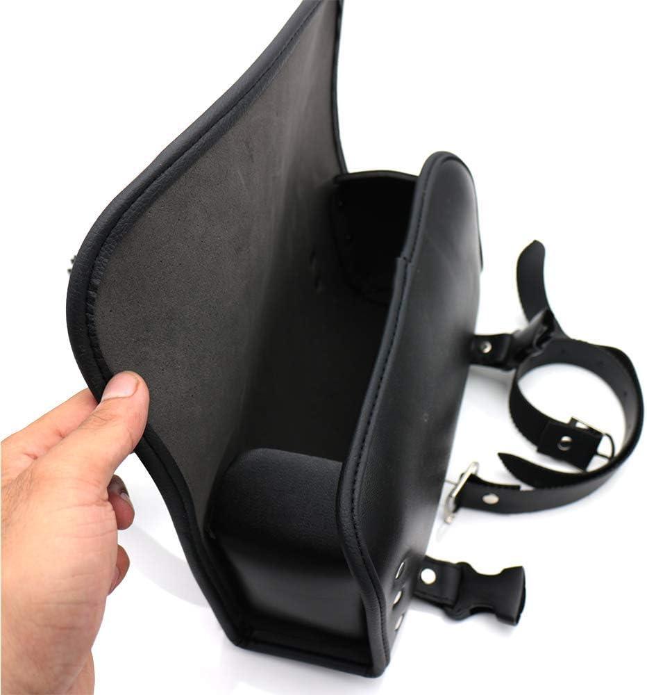 Monland Borsa da Forcella per Moto Borsa da Manubrio Impermeabile per Moto Sella nel Pelle Anteriore Porta Attrezzi Posteriore con 2 Cinghie per Sportster