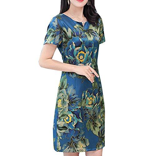 Gestreift Übergröße Kleid E S1815 girl Blau Cocktail Damen Abendkleid Kleider Midi Seide aHxS1w6q