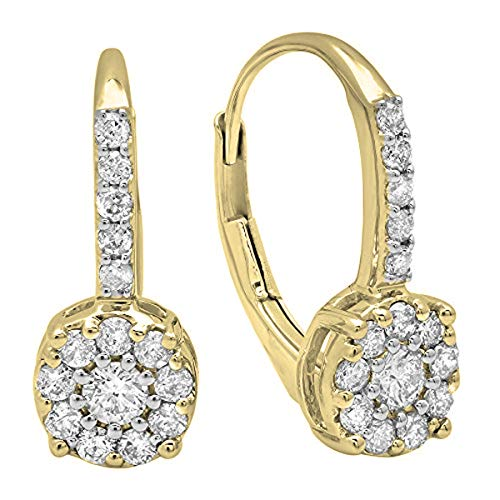 (0.55 Carat (ctw) 14K Yellow Gold Round White Diamond Ladies Cluster Dangling Drop Earrings 1/2 CT)
