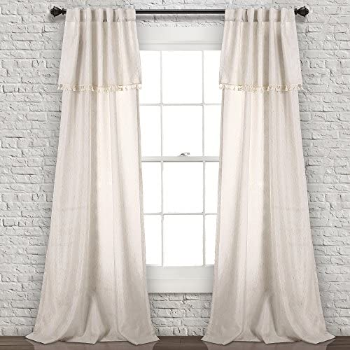 Lush Decor Lush D cor, Neutral Ivy Tassel Curtains Solid Color Window Panel Living, Dining Room, Bedroom Pair , 95 x 40, 95 x 40