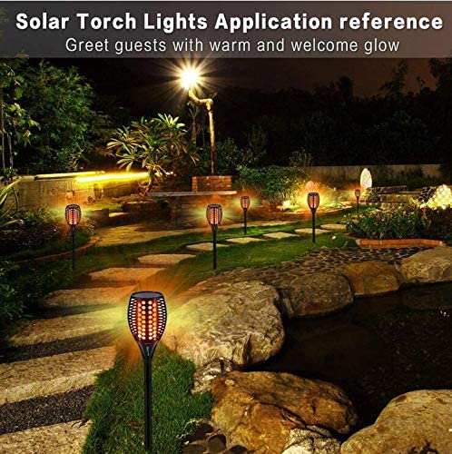 JKYQ Solar Torch Light Waterproof Outdoor Flickering Flames torch Lighting automatic off//on Dusk to Dawn for Garden Pathway Driveway