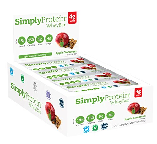 - SimplyProtein Whey bar, Apple Cinnamon, Pack of 12, Gluten Free