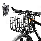 Enkrio Bicycle Bike Basket Front Folding Rear Wire Bike Basket Mesh Fold-Up Rear
