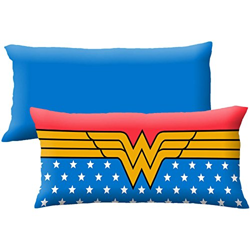 D.I.D. 1 Piece Kids 20 x 48 Blue Red Oversized Wonder Woman Theme Body Pillow,Geometric Novelty DC Comic Super Hero Star Pattern Pillows Cushion Couch Sofa Bedroom Bed Headrest, Polyester