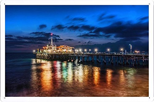 Tin Sign Poster The Pier In Santa Monica (20x30cm) By Nature Scene Painting