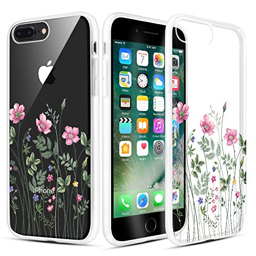 (Caka iPhone 7 Plus Case, iPhone 8 Plus Clear Floral Case Flower Pattern Slim Girly Cute Anti Scratch Excellent Grip Soft TPU Crystal Case for iPhone 6 Plus/6s Plus/7 Plus/8 Plus 5.5 inch (Pink Floral))