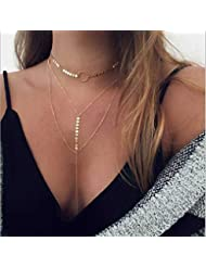 Jovono Necklace Choker with Alloy Sequin Gold Clavicle Necklace For Women and girls