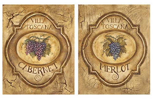 Villa Toscana; Lovely, Vintage Cabernet and Merlot Signs; Two 8X10 Poster Printsq ()