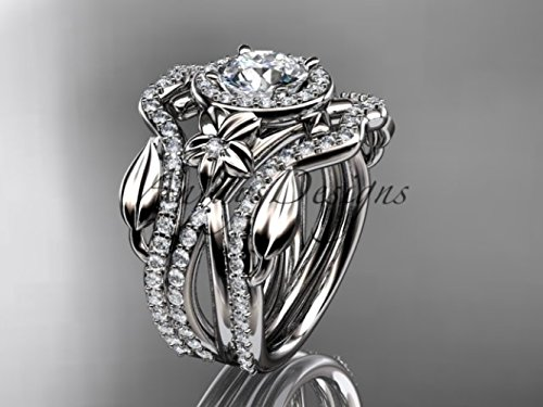 14kt white gold diamond leaf and vine, flower engagement ring, wedding ring, with double matching band ADLR89S