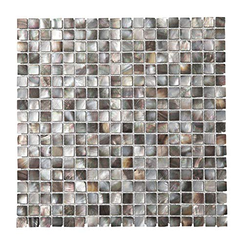 (Diflart Oyster Mother of Pearl Shell Mosaic Tile 10 Sheets/Box (Square, Black)