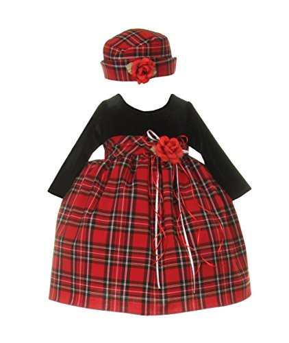 Cinderella Couture Baby Girls' Velvet Christmas Plaid Dress/Hat