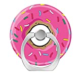 360°Rotation Grip Mobile Phone Finger Ring Holder for All Smartphone and Tablets with Car Mount Stand Pink Rainbow Sprinkle Donut