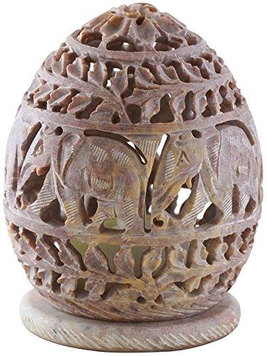 (SouvNear Tealight Holder Hand Carved Elephant Figurines - Ivory Soapstone Votive Holders)