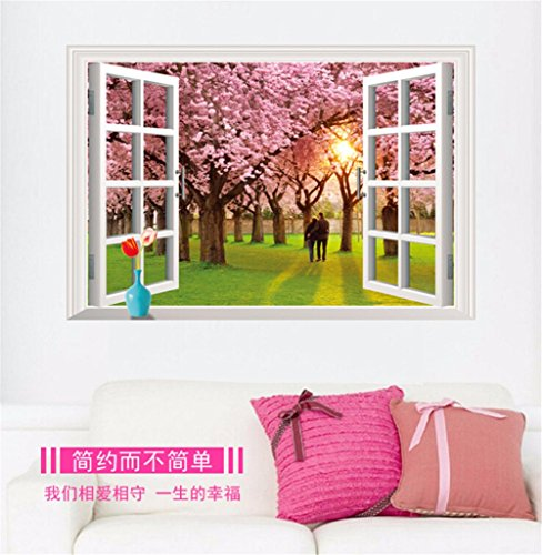 LAONA To remove the 3D wall stickers (cherry blossom tree) fake living room bedroom window background decoration sticker (6090cm)