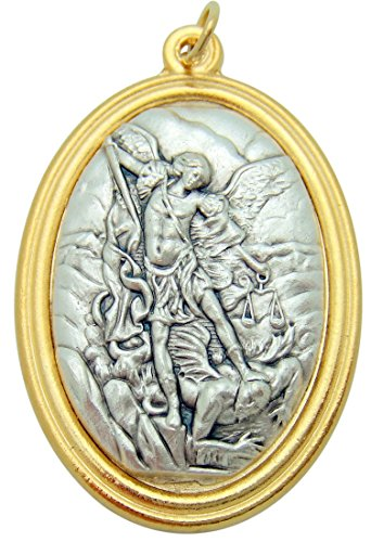 St Michael Large 1 1/2 Inch Pendant Two Tone 3D Embossed Medallion Medal Silver Tone Metal Alloy Made in Italy -