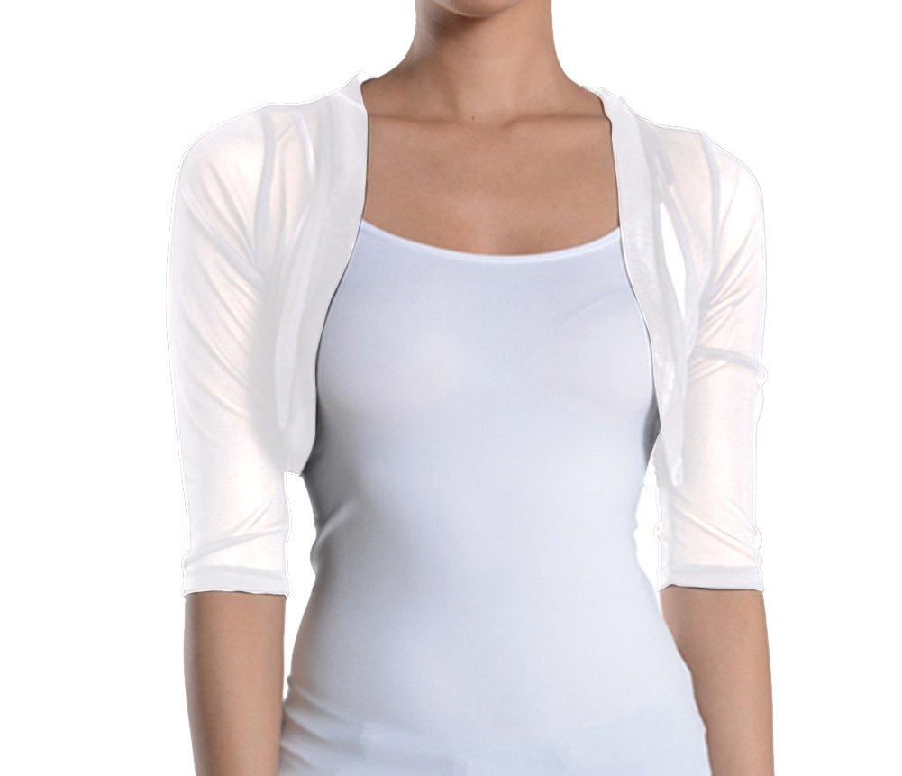 Fashion Secrets Junior`s Sheer Chiffon Bolero Shrug Jacket Cardigan 3/4 Sleeves (Medium, White)